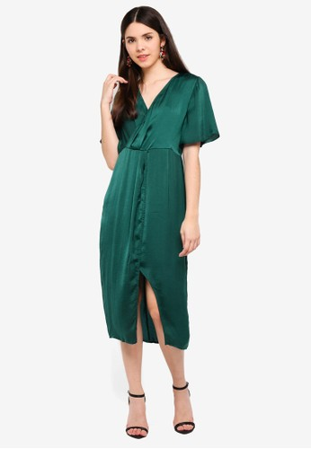 Glamorous green Solid Wrap Dress 5197FAAF624250GS_1