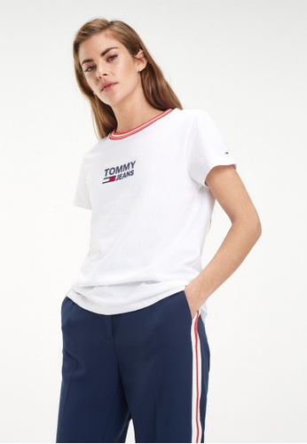 e3c31c7b Buy Tommy Jeans Tjw Rib Stripe Neck Tee Online on ZALORA Singapore