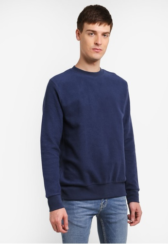 Topman blue and navy Navy Brushed Textured Sweatshirt TO413AA0SHQHMY_1