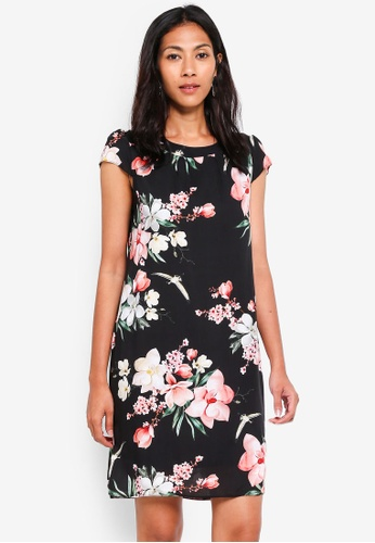 Dorothy Perkins 黑色 Billie & Blossoms Black Floral Shift Dress 3CC20AA5FFA4E4GS_1