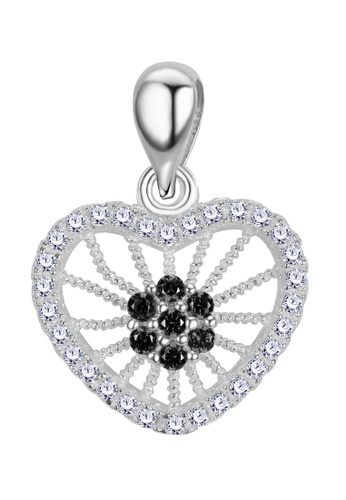 SC Tom Silver black and silver Stone Heart Pendant SC872AC90BNXPH_1