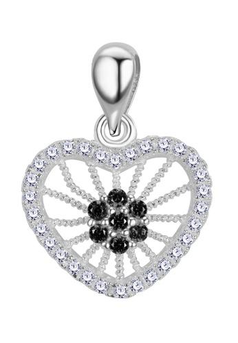 SC Tom Silver black and silver Stone Heart Pendant SC872AC90BNXPH_1
