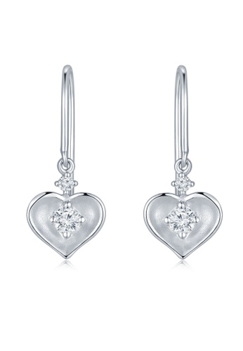 MaBelle silver 18K/750 White Color Gold Diamond Heart Earrings 64C36ACA603D25GS_1