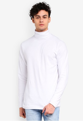 Factorie white Funnel Neck Long Sleeve Tee 673A6AAE078F18GS_1