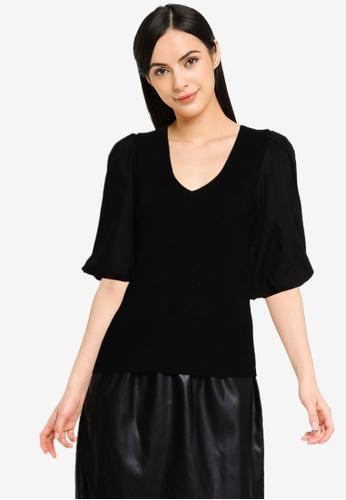 Vero Moda black Moeko Short Sleeves V-neck Blouse B6733AAB09558CGS_1