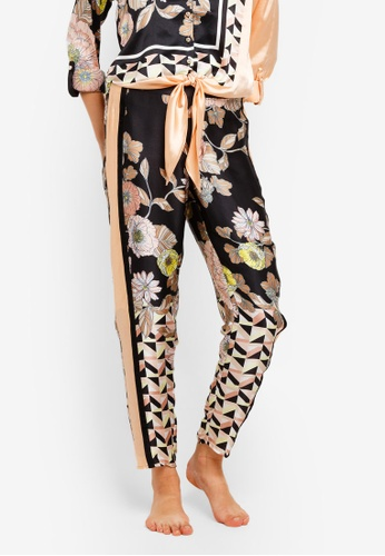 River Island black and multi Floral Satin Side Stripe Pajama Pants 362C0AAAC75986GS_1