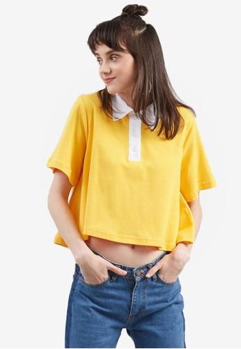 Berrybenka yellow Dalary Crop Polo Shirt 6419AAAD191075GS_1