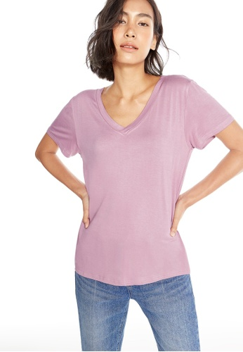 Pomelo pink Leah V Neck Tee - Pink AE4CEAA60FCC5CGS_1