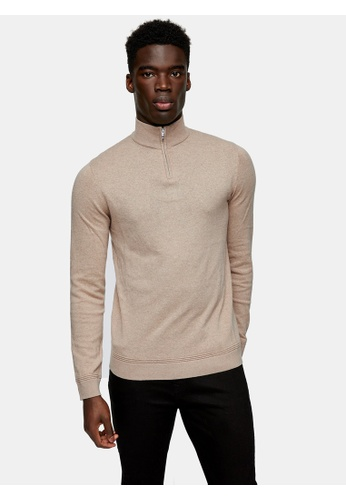Topman beige Considered Stone Turtle Neck Zip Knitted Jumper 53C76AA2488F32GS_1