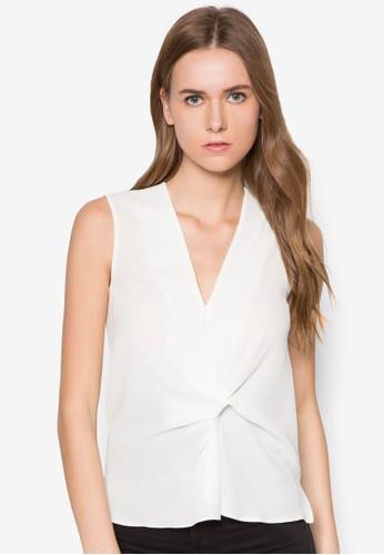 扭結低胸無袖上衣,zalora taiwan 時尚購物網 服飾, 服飾