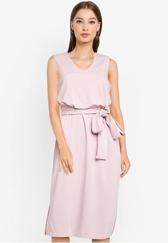 ZALORA WORK pink Blouson Pencil Dress With Tie D0A16AA758B8D2GS_1