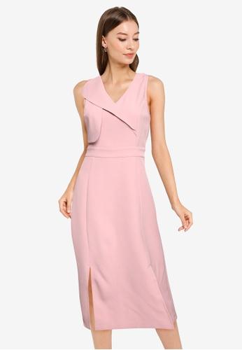 ZALORA WORK pink Overlap Dress With Slits 6A599AA5A996FFGS_1