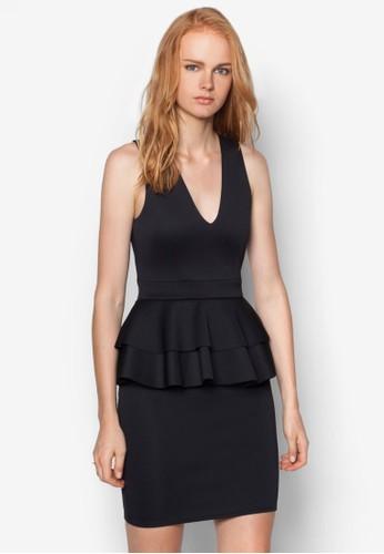 雙層荷葉腰飾zalora 台灣門市連身裙, 服飾, 洋裝