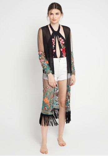 PINK AND PROPER black Opulence Evangeline Floral Embroidered Long Cardigan F3F3EUSE83A462GS_1