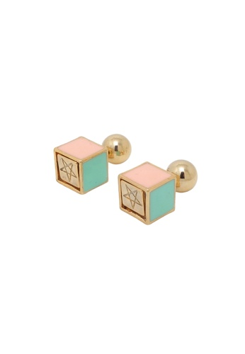 Jaysa Collection gold Pastel Colors Cube Double Sided Earrings JA875AC0FAN8SG_1