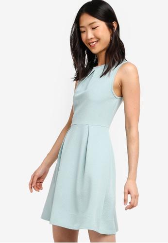 ZALORA BASICS green Basic Pleat Details Dress 38FC9AA42D610EGS_1