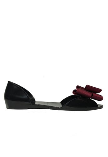 Halo black and red Summer Bow Waterproof Flat Sandals HA156SH2UOZQHK_1