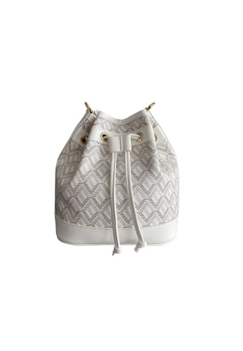 EMO white Korean fashion Brand‧Canine Pattern bucket bag - White 20227AC7F08A42GS_1