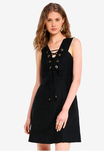 J.Crew black Rose Lace Up Linen Dress C794CAAD9B3EB2GS_1