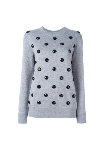 Marc Jacobs grey Marc Jacobs Black Jewels Embellished Crew Neck Sweatshirt in Light Grey E8C22AAAE1D0DFGS_1