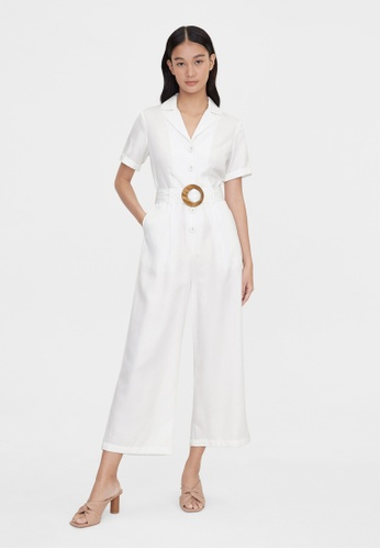 Pomelo white Purpose Short Sleeve Belted Jumpsuit - White D0029AAB718F17GS_1
