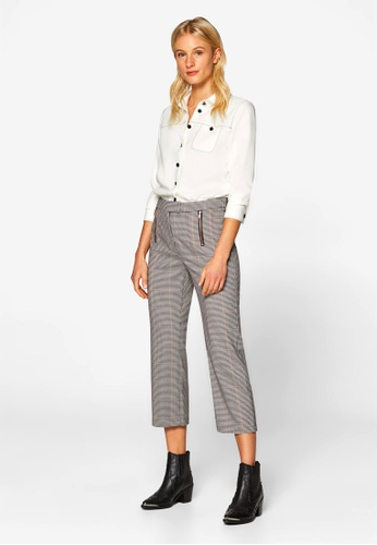 ESPRIT grey and beige Woven Cropped Pants 13302AAF1D8350GS_1