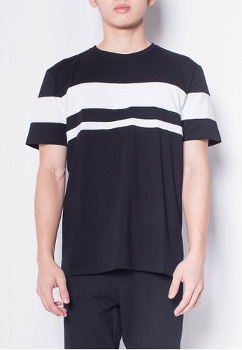 SUB black Men Short-Sleeve Striped Panel Tee 4C0D6AA7ABD217GS_1