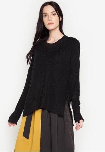 Chloe Edit black Oversized Knitted Top CH672AA0JT34PH_1