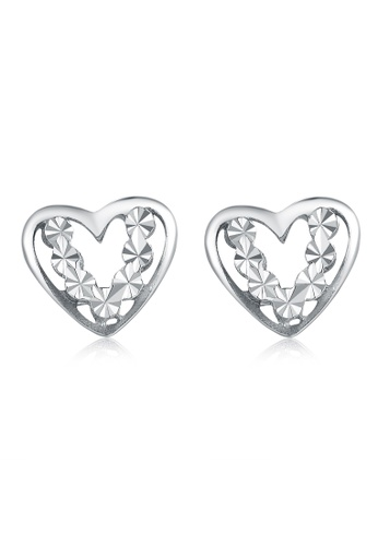 MaBelle silver 14K White Gold Heart Stud Earrings F85D5AC11CA7E1GS_1