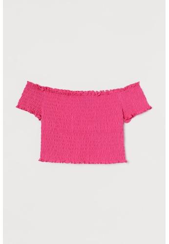 H&M pink Smocked Off-The-Shoulder Top 9A680AAD4324EEGS_1