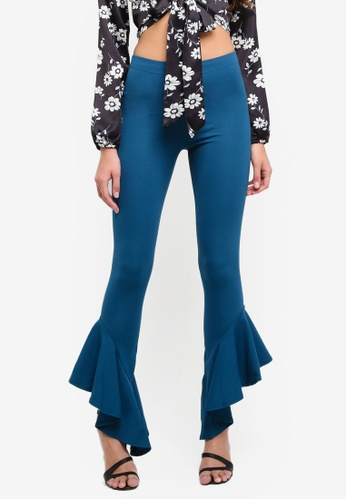 MISSGUIDED blue Crepe Jersey Skinny Ruffle Trousers E5BB2AAA7CE748GS_1