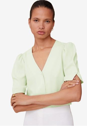 Mango green Puff Sleeves Blouse BDE06AAB09D0E3GS_1