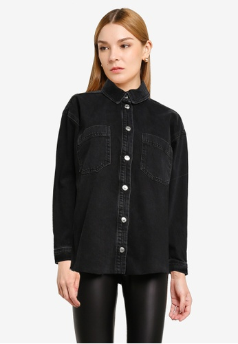 TOPSHOP black PETITE Washed Black Oversized Shirt EF3D9AA3EA8F3CGS_1
