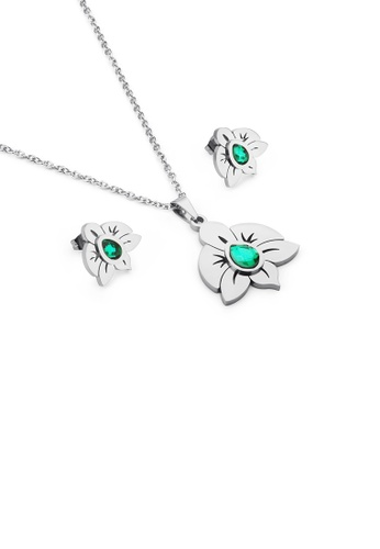 Glamorousky green Fashion and Elegant Flower 316L Stainless Steel Necklace and Stud Earrings with Green Cubic Zirconia A156EAC8A6B981GS_1