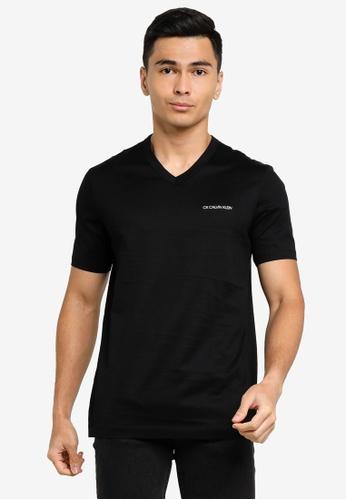 ck Calvin Klein black DOUBLE MERCERISED COTTON V NECK TOP WITH LUREX LOGO A2DDCAA5E9A8FDGS_1