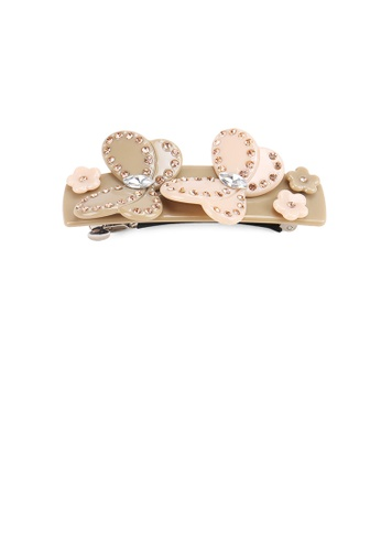 Glamorousky gold Fashion and Elegant Double Butterfly Gray Hair Slide with Cubic Zirconia A0D5AAC8A355D0GS_1