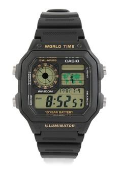 harga Casio Square Watch Illuminator Digital Ae-1200Wh-1B Zalora.co.id