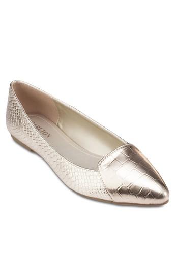 尖頭亮面平底鞋,esprit 台北 女鞋, 鞋