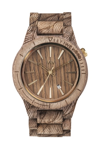 WEWOOD brown Assunt Waves Nut Rough Watch 46mm CD366AC4414885GS_1