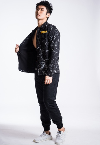 L.I.M.I.T.E 黑色 男裝刺繡章拼雲石布恤衫褸 7A344AA0ACBD00GS_1