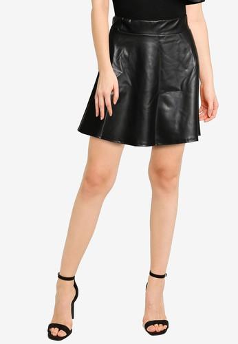 Miss Selfridge black Petite Black PU Skater Skirt CA69FAA6B75448GS_1