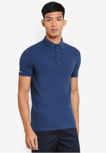 Superdry 藍色 休閒短袖POLO衫 309D7AA112E550GS_1