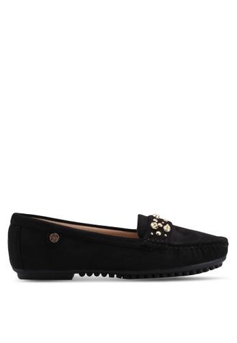 Carlton London black Faux Suede Loafers 8BE10SH3C2A1DDGS_1
