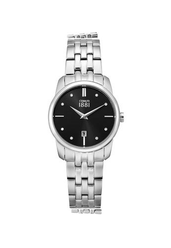 CERRUTI 1881 silver All Stainless Steel Black Dial Ladies Watch CE514AC96QMHMY_1