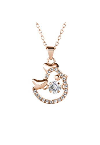 Her Jewellery gold 12 Dancing Zodiac Pendant (Rooster) RG - Made with premium grade crystals from Austria CB829AC1947E85GS_1