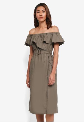 River Island green Kelly Bardot Waisted Dress A2B4BAAEDC2BF9GS_1