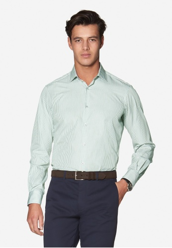 T.M. LEWIN green T.M.Lewin Slim Fit Stripe Green Button Cuff Shirt 9D2CAAA91EF726GS_1