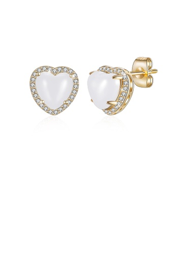 Glamorousky white Simple Plated Champagne White Heart-shaped Stud Earrings with Austrian Element Crystal 1C847ACC662094GS_1