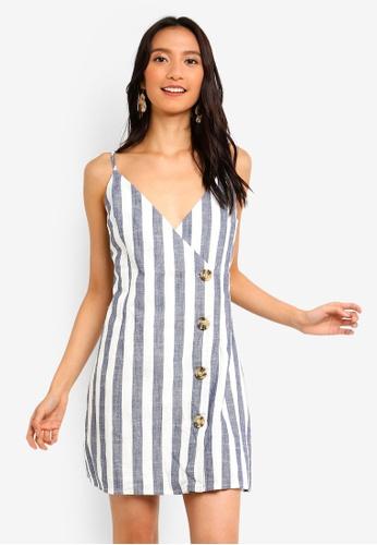 INDIKAH blue Striped Button Front Wrap Dress 5BDACAA53D1BEBGS_1
