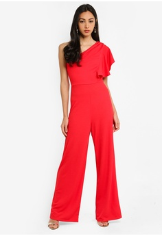 13d99c2920 Miss Selfridge red Red One Shoulder Jumpsuit 4BD9DAA360769EGS 1